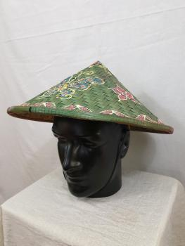 Bamboo hat with motiv Green