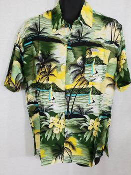 Shirt with tropical islands sailors and flowers
